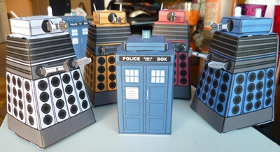 paper tardis and daleks